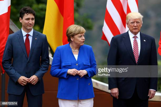 G7 Summit 2017 in Italy The Canada Prime Minister Justin Trudeau with the Germany Chancellor Angela Merkel and the President of the United States of...