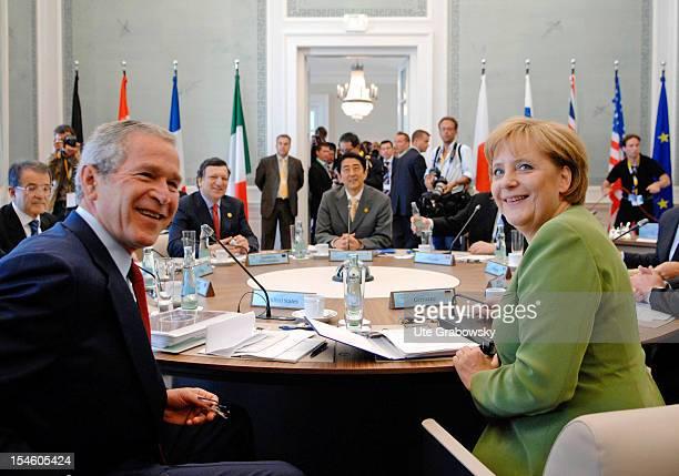 G8 Summit Angela Merkel Federal Chancellor and Chairman of the Christian Democratic Union and Georg W Bush President USA Back Fl Romano Prodi Prime...