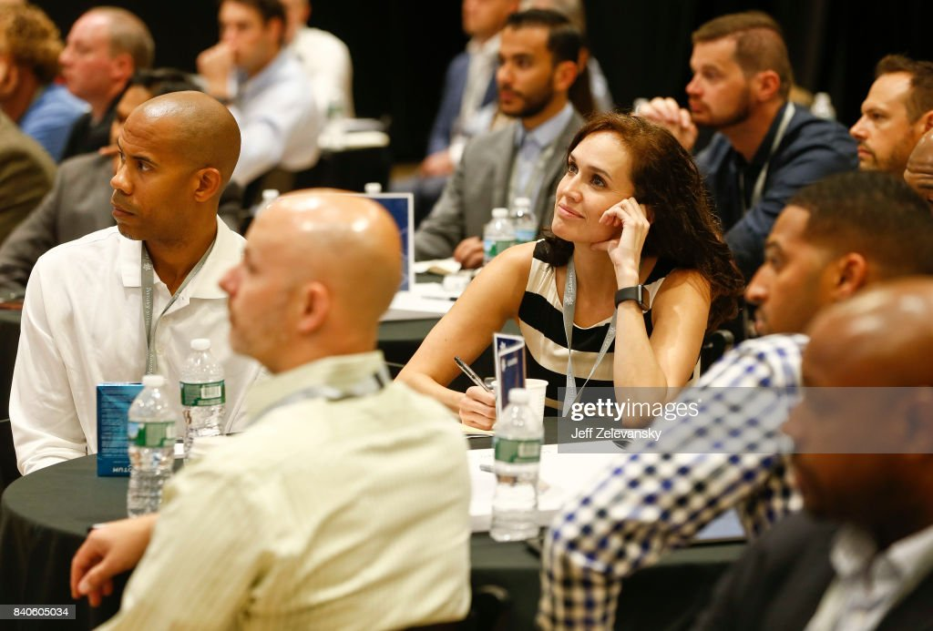 Summit attendees listen to presentations at the Leaders Sport Performance Summit on August 29, 2017 in New York City.