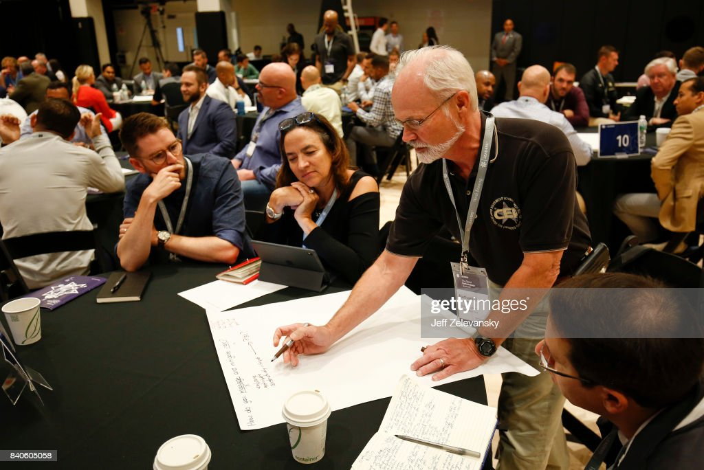 Summit attendees participate in roundtable exercises at the Leaders Sport Performance Summit on August 29, 2017 in New York City.