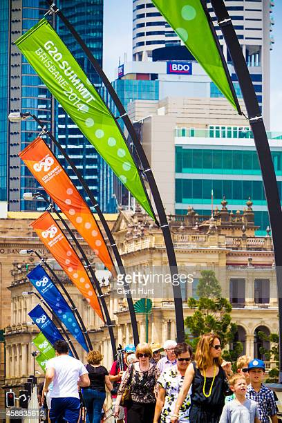 Summit flags are seen on November 12 2014 in Brisbane Australia G20 banners line Victoria Bridge that joins the Brisbane CBD to Southbank World...