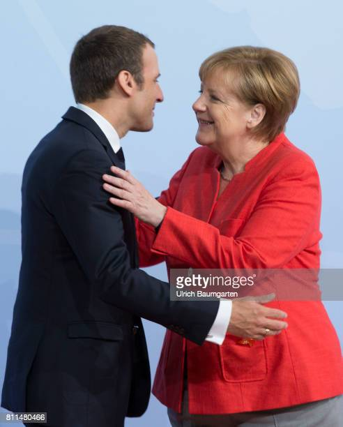 Summit in Hamburg. Cordialities - Federal Chancellor Angela Merkel and the French President Emmanuel Macron.
