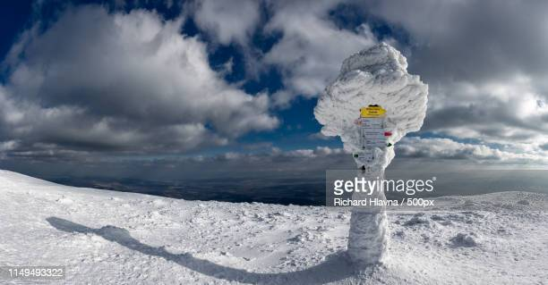 summit keeper at babia hora - babia góra mountain stock pictures, royalty-free photos & images