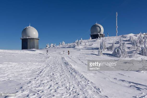 Summit of Great Arber mountain in winter, Bavarian Forest , Bavaria, Germany