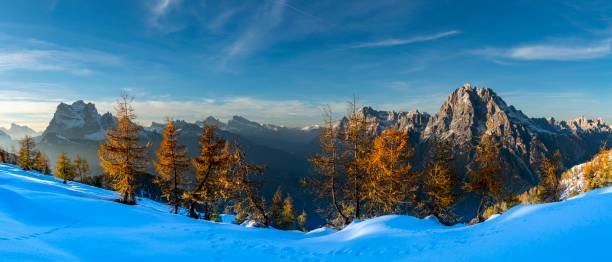 Summit of Monte Antelao and Pelmo in the evening light, Sante Viro di Cadore, Dolomites, Italy