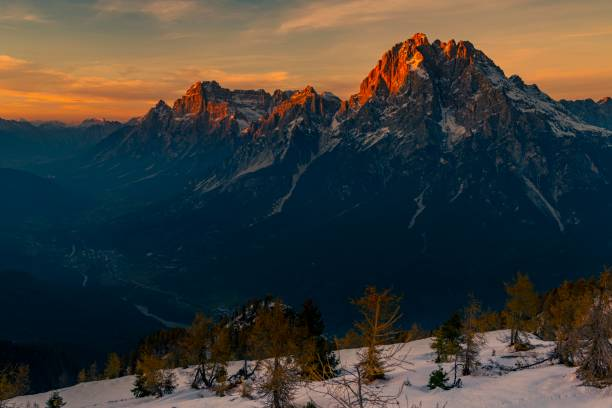 Summit of Monte Antelao in the evening light, Sante Viro di Cadore, Dolomites, Italy