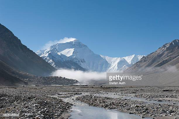 Summit of Mount Everest, light fog, Base Camp north side, glacial river, the Himalayas, central Tibet, U-Tsang, Tibet Autonomous Region, People's Republic of China, Asia