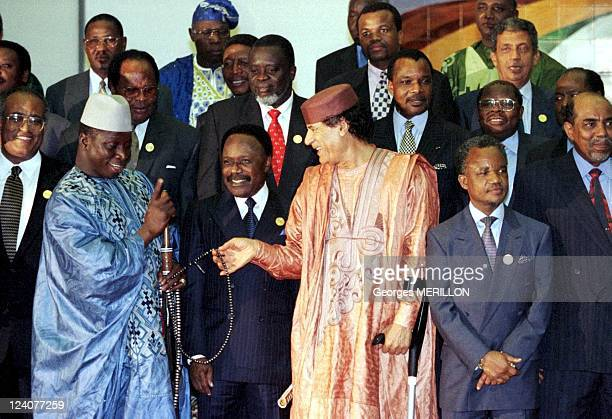 Summit of OAU In Tripoli Libya On September 08 1999 Gadhafi Yahya Jammeh President of GAMBIA and President of Gabon Omar Bongo