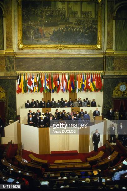 Summit of the Francophonie in Versailles on February 17 1986 in Versailles France