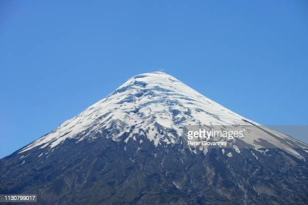 summit, osorno volcano with snow cap, region de los lagos, chile - peter snow stock pictures, royalty-free photos & images