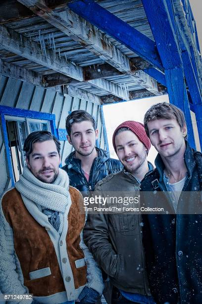 Summit Series cofounders Jeff Rosenthal Brett Leve Elliott Bisnow and Jeremy Schwartz are photographed for Forbes Magazine on December 10 2012 at...
