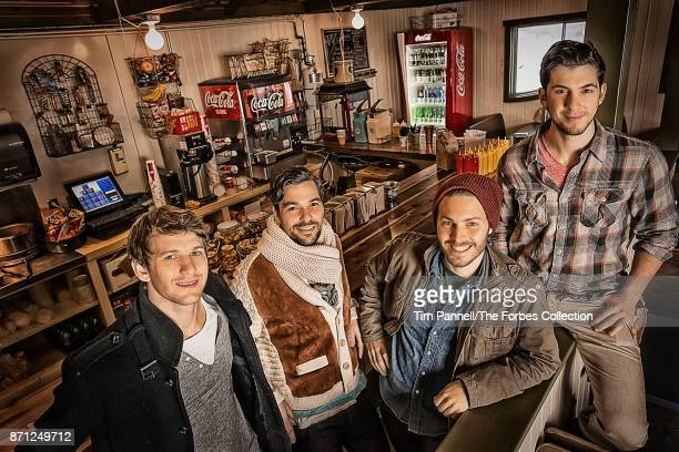 Summit Series cofounders Jeremy Schwartz Jeff Rosenthal Elliott Bisnow and Brett Leve are photographed for Forbes Magazine on December 10 2012 at...