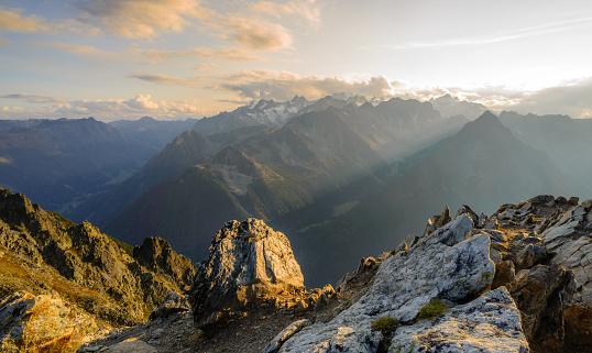 Summit sunset in the Swiss alps 1136585956