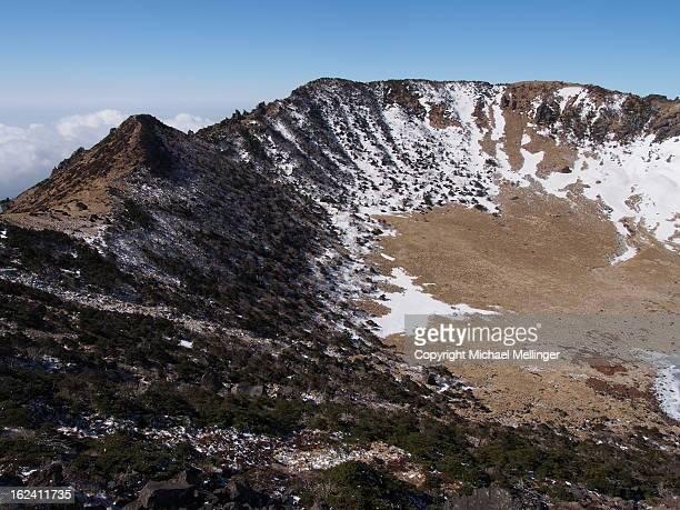 summit-hallasan-jeju-south korea - hallasan stock photos and pictures