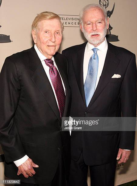 Sumner Redstone and Leonard Goldberg during Academy of Television Arts and Sciences Hall of Fame Ceremony Arrivals at The Beverly Hills Hotel Crystal...