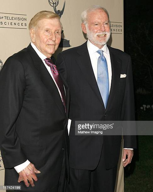 Sumner Redstone and Leonard Goldberg during Academy of Television Arts Sciences Hall of Fame Ceremony Arrivals at Beverly Hills Hotel in Beverly...