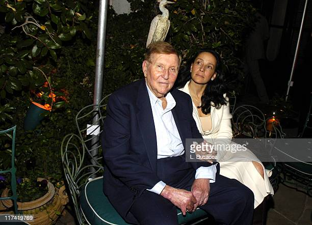Sumner Redstone and wife Paula Fortunato during Launch Party In Bed with Robert Evans on Sirius Satellite Radio at Robert Evans apartment in Woodland...