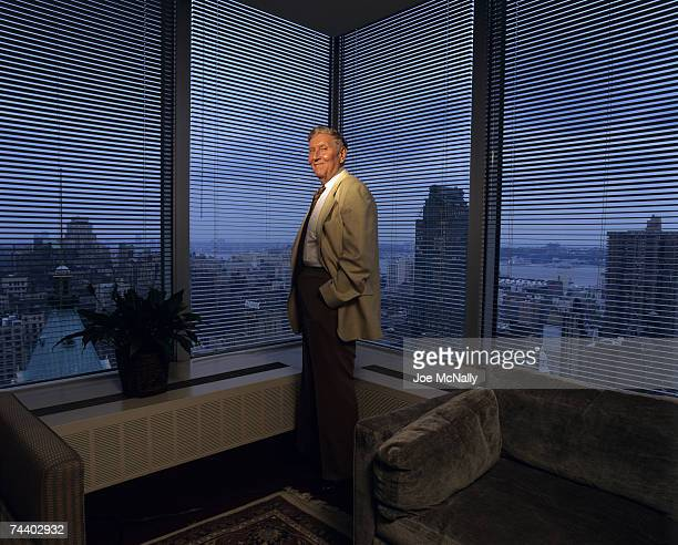 Sumner Redstone the president and CEO of National Amusements Viacom and CBS in October of 1994 standing in his Times Square office in New York City...