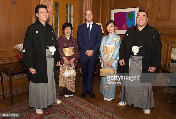Sumo champions master Isegehama Junko and wife Munkhjargal and the Sumo grand champion Harumafuji meet Prince William Duke of Cambridge at a...