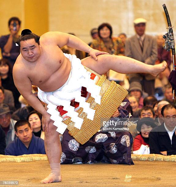 Sumo grand champion Asashoryu of Mongolia performs the DohyoIri Ceremony during the Sumo Winter Tour 2007 at Ushibuka Gymnasium on December 4 2007 in...