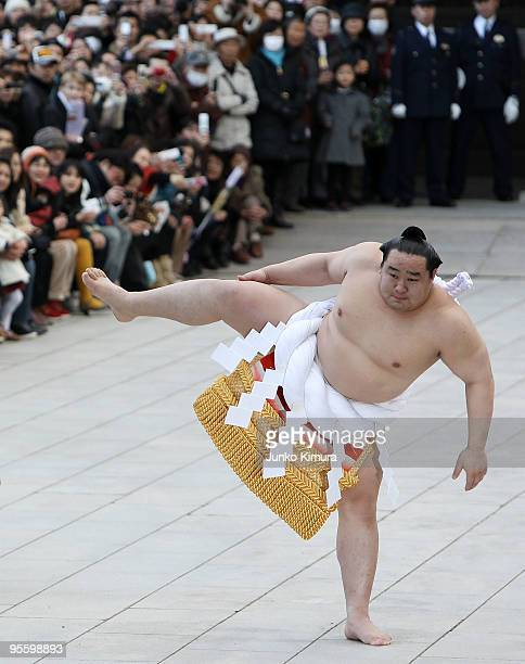 Sumo Grand Champion Asashoryu performs 'Dohyoiri' at the Meiji Jingu Shrine on January 6 2010 in Tokyo Japan It is the custom that Sumo Grand...