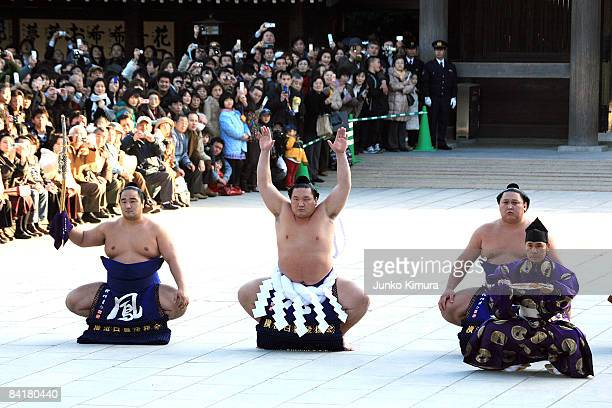 Sumo Grand Champion Hakuho real name Monkhbatyn Davaajargal performs 'Dohyoiri' in a new ceremonial rope belt at the Meiji Shrine on January 6 2009...