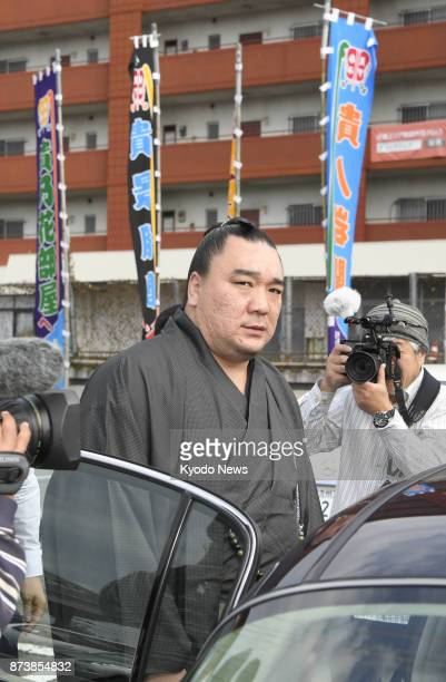 Sumo grand champion Harumafuji is pictured in Tagawa Fukuoka Prefecture southwestern Japan on Nov 14 2017 after being unable to apologize for his...