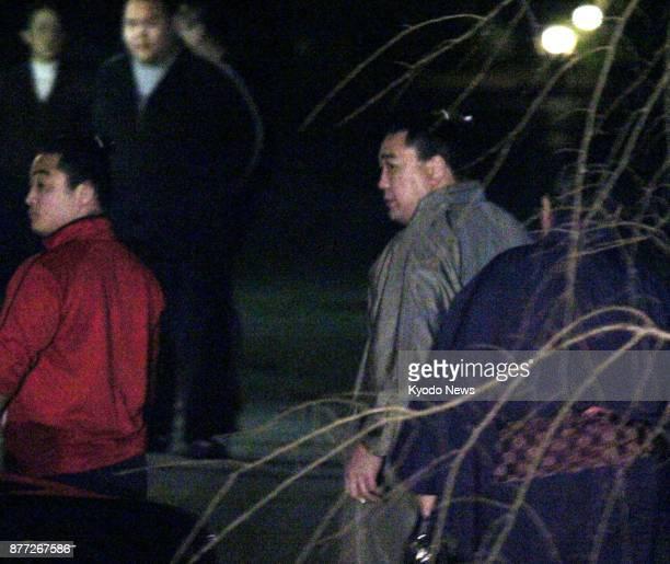 Sumo grand champion Harumafuji returns to his stable in Dazaifu Fukuoka Prefecture on Nov 21 2017 Police are set to refer the yokozuna to prosecutors...