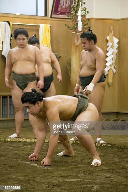 Sumo 'keiko' or practice at a sumo stable in Tokyo Sumo is a competitive sport in Japan where two wrestlers attempt to force one another out of a...