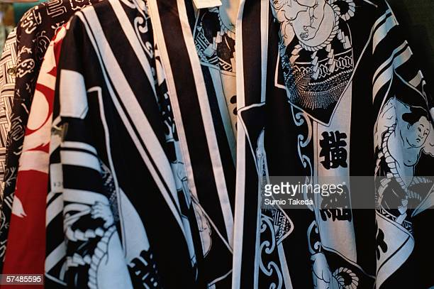 Sumo patterned bathrobes, close-up