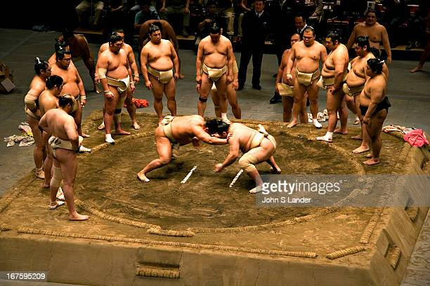 Sumo warmup bout at the Kokugikan Sumo Stadium in Tokyo Sumo season is traditionally held each May and September