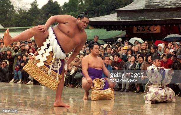 S sumo wrestler Akebono performs the grand champion ringentering ceremony at the Meiji Shrine in Tokyo 28 January 1993 Akebono was promoted to the...
