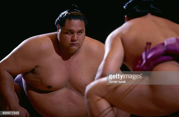 Sumo wrestler Akebono prepares himself for a match in Paris France
