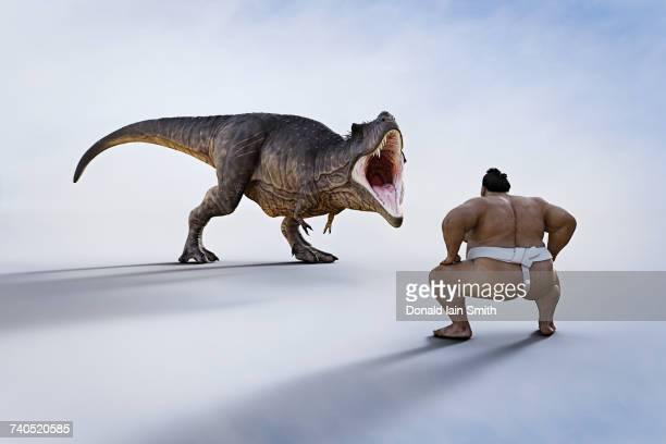 Sumo wrestler facing fierce dinosaur