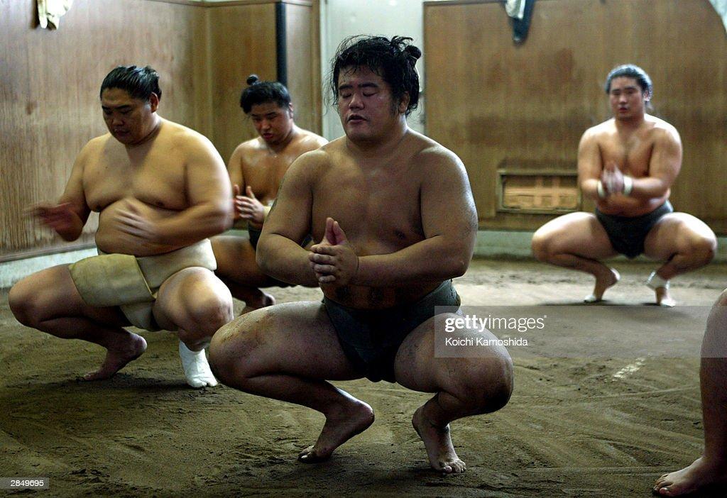 Sumo Wrestlers Prepare For Tournaments : ニュース写真