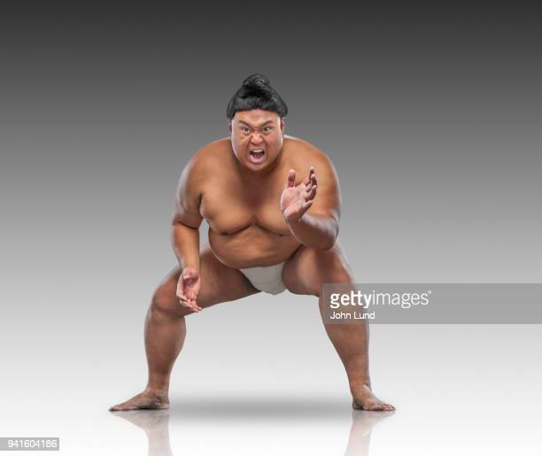 a sumo wrestler prepares to wrestle the viewer - 相撲 ストックフォトと画像