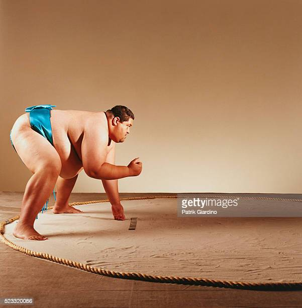 Sumo Wrestler Preparing to Fight