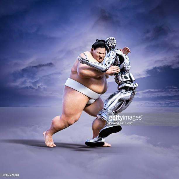 Sumo wrestler pushing robot