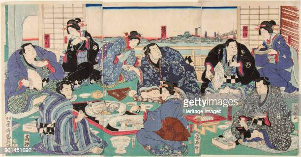 Sumo wrestler Sakaigawa Namiemon with other sumo wrestlers and geishas at a party 1856 Private Collection