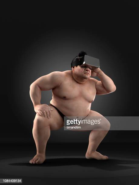 sumo wrestler using virtual reality headset - 相撲 ストックフォトと画像