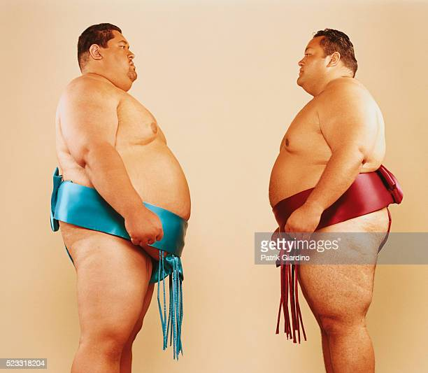 Sumo Wrestlers Facing Off
