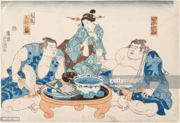 Sumo Wrestlers Kuroiwa and Zogahana with a geisha ca 1845 Private Collection