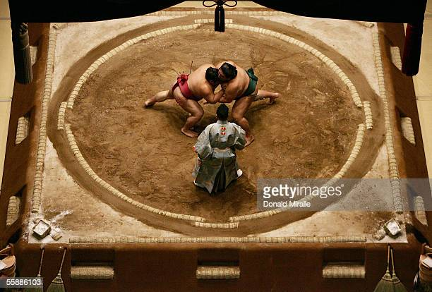Sumo wrestlers Miyabiyama and Takekaze of Japan grapple each other in the middle of the ring during the Grand Sumo Championship on October 9 2005 at...