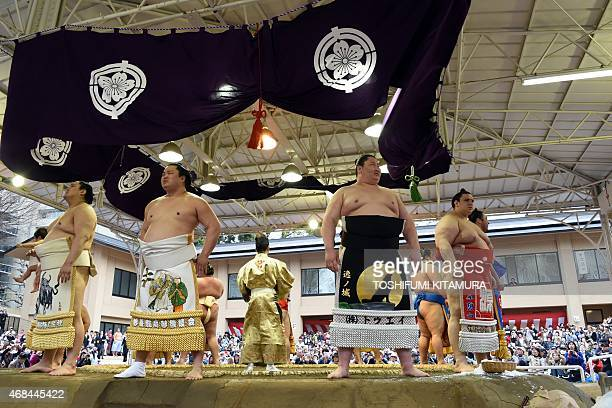 Sumo wrestlers stand on the edge of the ring before their bouts during a 'honozumo' a ceremonial sumo exhibition at the Yasukuni shrine in Tokyo on...