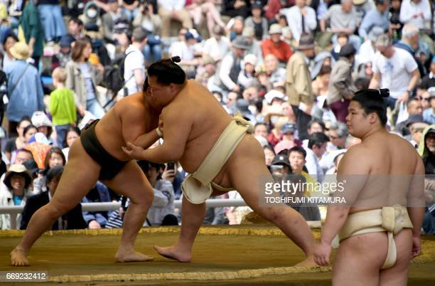 """Sumo wrestlers take part in a """"honozumo,"""" a ceremonial sumo exhibition, on the grounds of Yasukuni Shrine in Tokyo on April 17, 2017. Sumo's top..."""