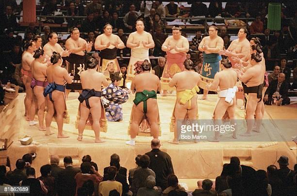 Sumo Wrestling Kyushu Grand Tournament Elite wrestlers Makuuchi Rikishi perform traditonal ring entering dohyoiri before matches Fukuoka JPN