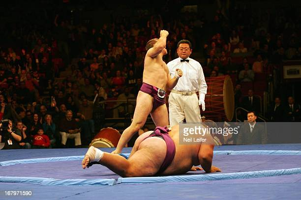 SUMO Battle of the Giants Bulgaria Georgiev Stiliyan victorious after winning match vs Hungary Deszo Libor at Madison Square Garden New York NY...