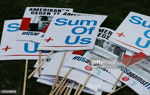 SumOfUs banner seen during an AntiTTIP Demonstration on April 23 2016 in Hanover Germany People protest against the reducing of the regulatory...