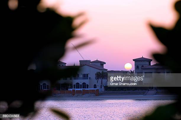 Sun about to set over Palm Jumeirah