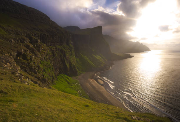 Sun and clouds over Faeroe Islands, Fjallraven, Faeroe Islands